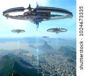 3d illustration of alien... | Shutterstock . vector #1024673335