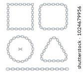 set of silver chain frames... | Shutterstock .eps vector #1024679956