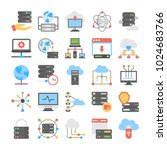 set of web hosting flat vector... | Shutterstock .eps vector #1024683766