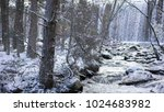 snowy landscape with river and...   Shutterstock . vector #1024683982