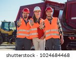 colleagues in a freight... | Shutterstock . vector #1024684468