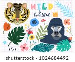 wild and beautiful. gorilla ... | Shutterstock .eps vector #1024684492