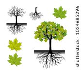 realistic tree silhouette.tree... | Shutterstock .eps vector #1024685296