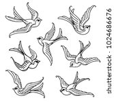 set of flying bluebirds. free... | Shutterstock .eps vector #1024686676