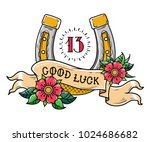 tattoo gold horseshoe with... | Shutterstock .eps vector #1024686682