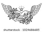 tattoo flying heart entwined in ... | Shutterstock .eps vector #1024686685