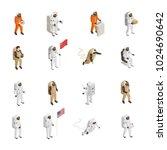 astronauts explorers in... | Shutterstock .eps vector #1024690642