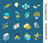 set of isometric icons with... | Shutterstock .eps vector #1024690732