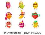 tropical fruit cool cartoon... | Shutterstock .eps vector #1024691302