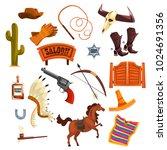 wild west elements set  cowboys ...   Shutterstock .eps vector #1024691356