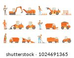 smiling road construction and... | Shutterstock .eps vector #1024691365