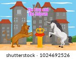the lion and the unicorn  kids... | Shutterstock .eps vector #1024692526