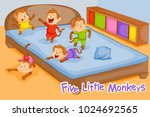 five little monkeys  kids... | Shutterstock .eps vector #1024692565