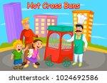 hot cross buns  kids english... | Shutterstock .eps vector #1024692586