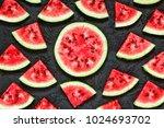 watermelon. ripe and juicy... | Shutterstock . vector #1024693702
