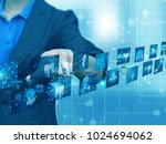 businesswoman press technology | Shutterstock . vector #1024694062