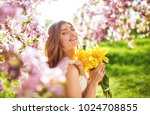 spring style. beautiful young... | Shutterstock . vector #1024708855