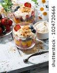 fresh fruit dessert with... | Shutterstock . vector #1024720666