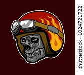 retro skull helmet fire red... | Shutterstock .eps vector #1024721722
