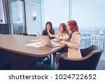 group of business women meeting ... | Shutterstock . vector #1024722652