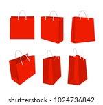 vector illustration set of red... | Shutterstock .eps vector #1024736842