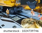 a little miner is digging on...   Shutterstock . vector #1024739746