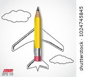 3d pencil with draw airplane... | Shutterstock .eps vector #1024745845