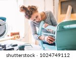 small business of a young woman. | Shutterstock . vector #1024749112