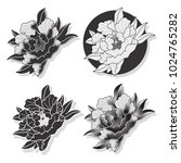 vector black peony traditional... | Shutterstock .eps vector #1024765282