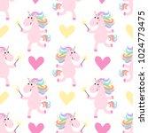 cute unicorns seamless pattern. ... | Shutterstock .eps vector #1024773475