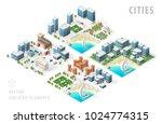 set of isolated isometric... | Shutterstock .eps vector #1024774315