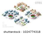 set of isolated isometric... | Shutterstock .eps vector #1024774318
