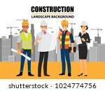 business engineer and worker ... | Shutterstock .eps vector #1024774756