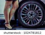 girl having long legs standing... | Shutterstock . vector #1024781812