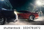 drag racing cars on the night... | Shutterstock . vector #1024781872