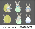 set of cute easter rabbits in... | Shutterstock .eps vector #1024782472