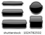 black glass buttons with chrome ... | Shutterstock .eps vector #1024782532