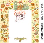 easter menu card with holiday... | Shutterstock .eps vector #1024790146