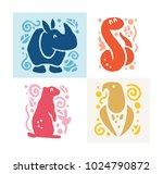 flat cute funny hand drawn... | Shutterstock . vector #1024790872