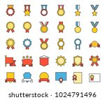 medal and badge icon  filled... | Shutterstock .eps vector #1024791496