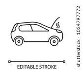 Broken Car Linear Icon. Thin...