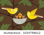 Stock vector bird family parents couple feeding hungry newborn baby birds sitting in straw nest cute comic 1024798612
