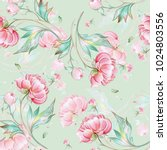 seamless peony pattern with... | Shutterstock . vector #1024803556