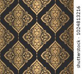 beautiful gold and black floral ... | Shutterstock .eps vector #1024813216