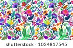 Stock vector seamless floral pattern with bright colorful flowers and tropic leaves on a white background the 1024817545