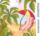 summertime on the beach. palms... | Shutterstock .eps vector #1024829956