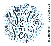 you  me   the sea. vector... | Shutterstock .eps vector #1024835125