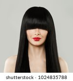 Small photo of Beautiful Hairstyle Woman Portrait. Model Girl with Long Black Hair and Red Lips