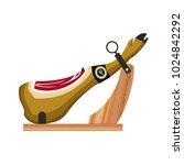 jamon on the wooden jamonera.... | Shutterstock .eps vector #1024842292