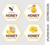 vector set of raw honey labels... | Shutterstock .eps vector #1024861636